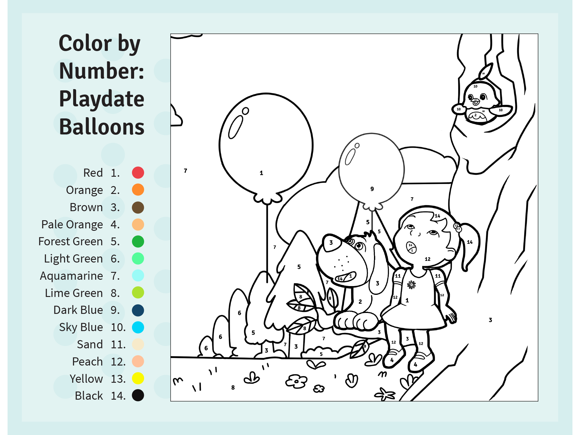 Color english worksheets - Playing With Balloons Color By Number Preschool Worksheet